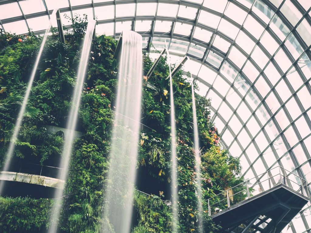 Botanical garden with waterfall. Public Domain Images – PIXNIO